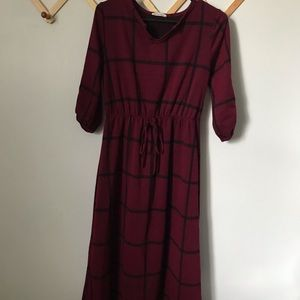 Flamingo Urban Plaid Dress Long Sleeve Size MP